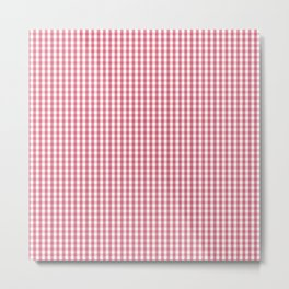 Nantucket Red Micro Gingham Check Plaid Pattern Metal Print