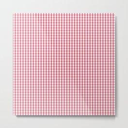 Nantucket Red MIcro Gingham Check Plaid Pattern Metal Print