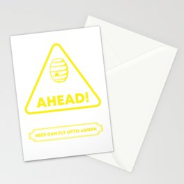 Bee Hive Ahead No Trespassing - Funny Beekeeper Beehive Gift Stationery Cards