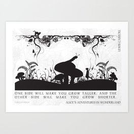 Alice's Adventures In Wonderland Black and White Illustrated Quote Art Print