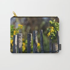 Yellow flower and wood fence Carry-All Pouch
