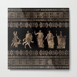 Greek Deities and Meander key ornament Metal Print