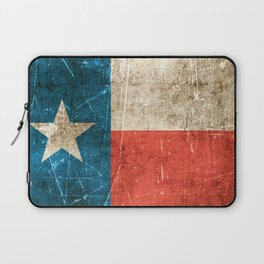 Vintage Aged and Scratched Texas Flag Laptop Sleeve