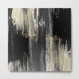 Abstract modern black gray gold glitter brushstrokes Metal Print