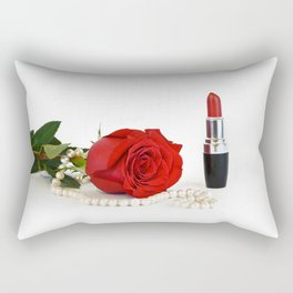 Rose, lipstick and pearls Rectangular Pillow