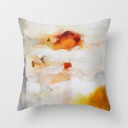 Orange gold painting print Throw Pillow