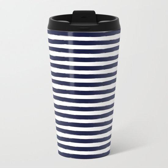 Navy Blue and White Horizontal Stripes Metal Travel Mug