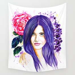 Pansy Flowers Wall Tapestry