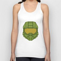master chief Tank Tops featuring Master Chief Helmet - Halo MCC by RoboKev