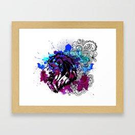Purple Lion Spirit Framed Art Print
