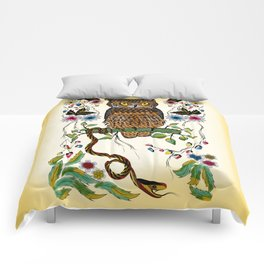 Vibrant Jungle Owl and Snake Comforters