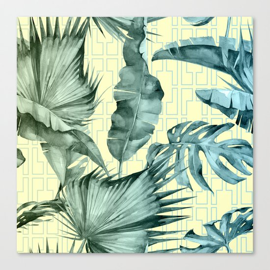 Simply Island Mod Palm Leaves on Pale Yellow Canvas Print