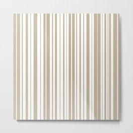 Simple Variable Stripes in White and Neutral Flax  Metal Print