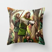 robin hood Throw Pillows featuring Robin Hood and his Merry Women by Eco Comics