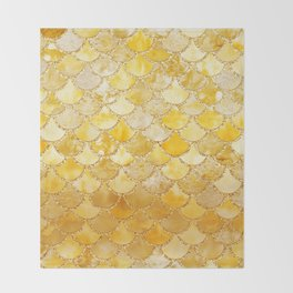 Sunny Gold Colorful Watercolor Trendy Glitter Mermaid Scales Throw Blanket