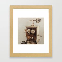Vintage Telephone Wood Burning Framed Art Print