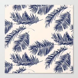 Blue Palm Leaves Pattern Canvas Print