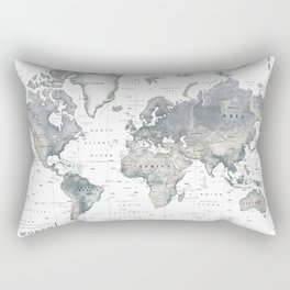 The World [Black and White Relief Map] Rectangular Pillow
