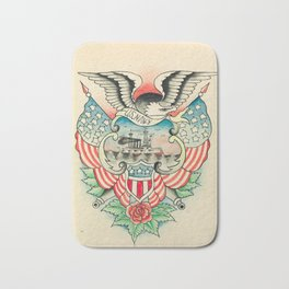 Vintage Navy Tattoo Design Bath Mat