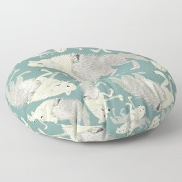 Totem Artic Wolf Turquoise Floor Pillow