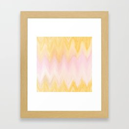 Modern hand painted pink yellow watercolor chevron ikat Framed Art Print