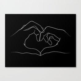line art heart hands Canvas Print