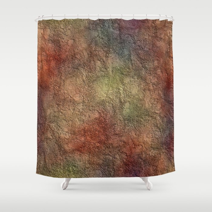 Colorful Earth Tones Brown Blue Abstract Shower Curtain by saravalor ...