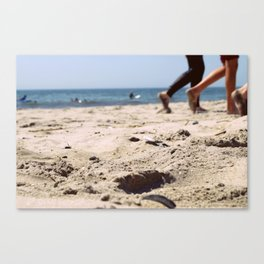 Walking on the Sand, Queens, New York City Canvas Print