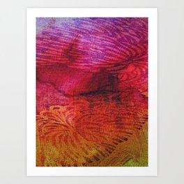 Textured Chrysanthemum | Jewel Toned Fuschia Gold Art Print