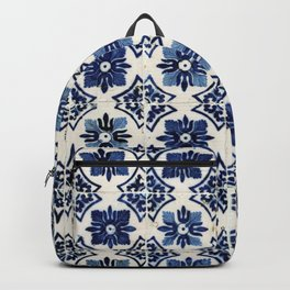 Vintage Blue Ceramic Tiles Backpack