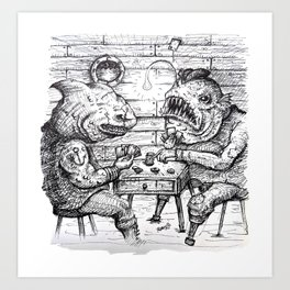 Sea Lubbers: Fish Pirates Gambling on Cards - ink Art Print