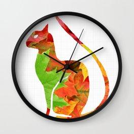 Fall Leaf Cat Wall Clock