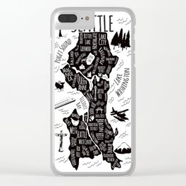 Seattle Illustrated Map in Black and White - Single Print Clear iPhone Case