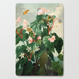 Pink Floral The Oblique-Leaved Begonias : Temple of Flora Cutting Board