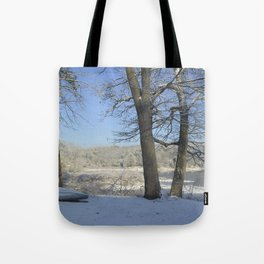 December Snow Delaware River View Tote Bag
