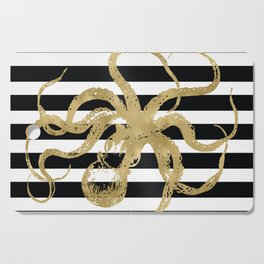 Gold Octopus on Black & White Stripes Cutting Board