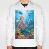 aquaman Hoodies featuring Aquaman Black Lagoon (Sun Kissed Water Version) by Brian Hollins art