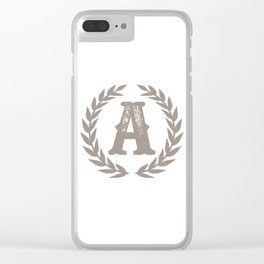 Beige Monogram: Letter A Clear iPhone Case