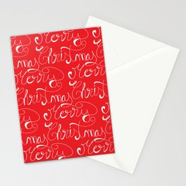 Merry Christmas Type Pattern Stationery Cards