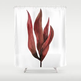 Red Tropical Leaves Shower Curtain