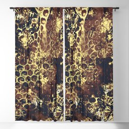 bees fill honeycombs in hive splatter watercolor old brown Blackout Curtain