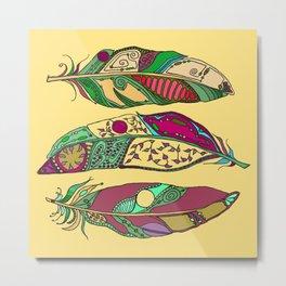 Bohemian Feathers on Honey Yellow - Hand-drawn Illustration Metal Print