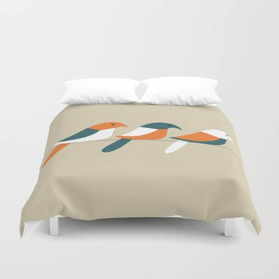 Birds on wire Duvet Cover