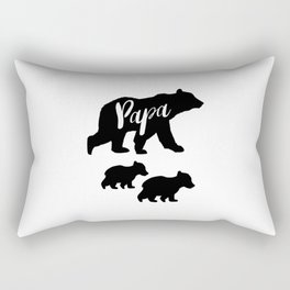 Papa Bear T Shirt with Two Cubs Rectangular Pillow