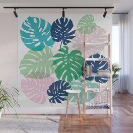Tropical Monstera - pink Wall Mural