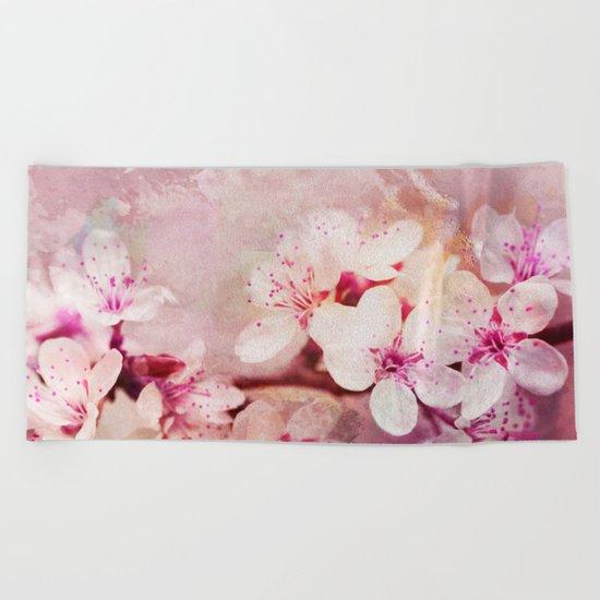 Pink Pastel Cherry Blossom Sakura Beach Towel