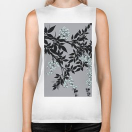 TREE BRANCHES BLACK AND GRAY WITH BLUE BERRIES Biker Tank