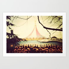 Carousel Goes Round and Round Art Print