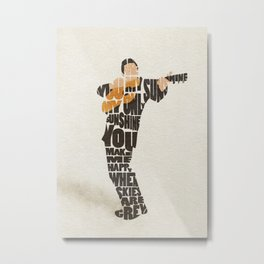 Typography Art of  The Man in Black Johnny Cash Metal Print
