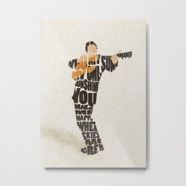 Typography Art of  The Man in Black Johnny Cash Metal Print